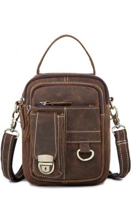 Мужская коричнева барсетка - сумка на плечо Vintage 20006