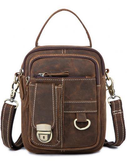 Фотография Мужская коричнева барсетка - сумка на плечо Vintage 20006