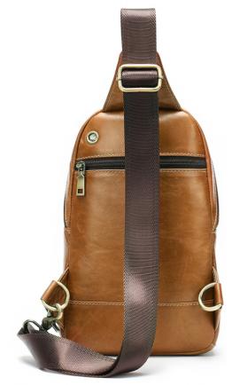 Мужской рюкзак на одно плечо рыжий Vintage 20008
