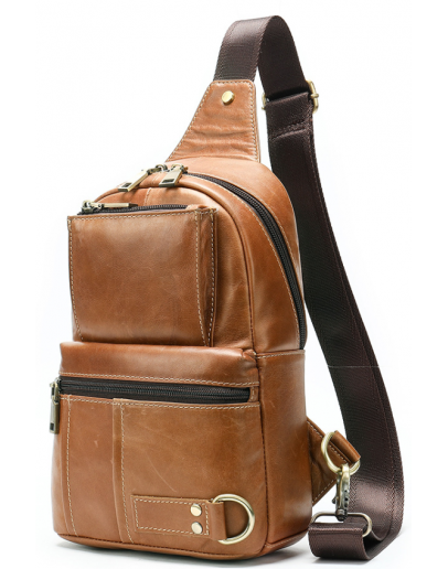 Фотография Мужской рюкзак на одно плечо рыжий Vintage 20008