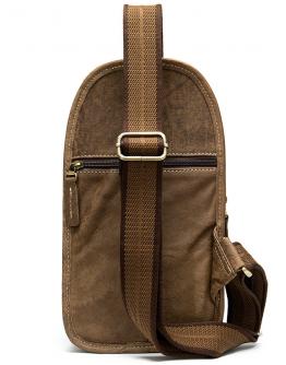 Мужской слинг кожаный светло-коричневый Vintage 20009