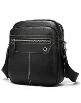 Кожаная черная мужская сумка на плечо Vintage 20018