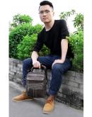 Фотография Мужская серая кожаная сумка - барсетка Vintage 20028