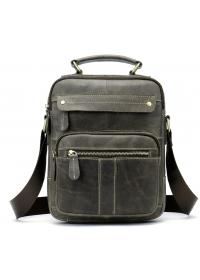 Мужская серая кожаная сумка - барсетка Vintage 20028