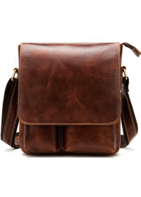 Мужская кожаная коричневая сумка через плечо Vintage 20029