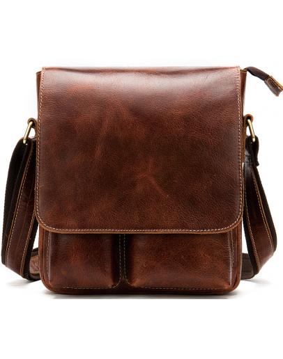 Фотография Мужская кожаная коричневая сумка через плечо Vintage 20029