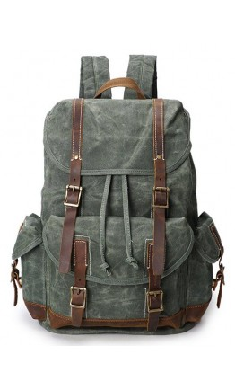 Зеленый вместительный тканево - кожаный рюкзак Vintage 20056