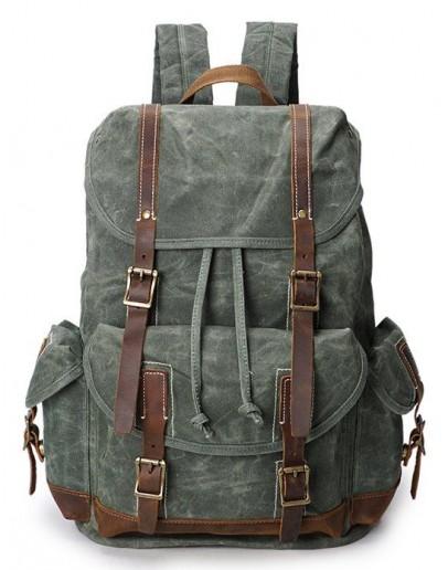 Фотография Зеленый вместительный тканево - кожаный рюкзак Vintage 20056