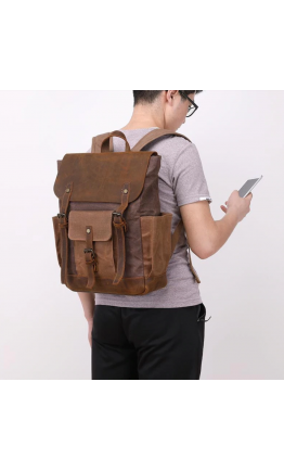 Коричневый вместительный рюкзак тканево - кожаный Vintage 20057