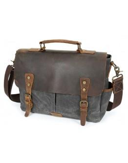 Мужской серый портфель из плотной ткани и кожи Vintage 20063