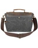 Фотография Мужской серый портфель из плотной ткани и кожи Vintage 20063