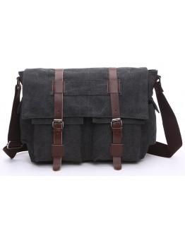 Черная мужская текстильная сумка на плечо Vintage 20076