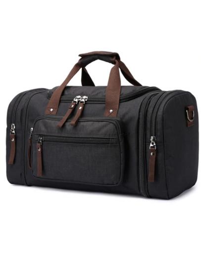 Фотография Большая кожаная тканевая сумка дорожная Vintage 20080
