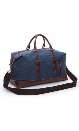 Дорожная мужская кожаная синяя сумка Vintage 20083 Синяя