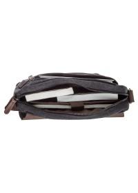 Текстильная мужская черная сумка на плечо Vintage 20088