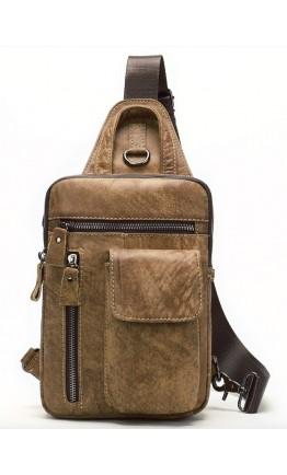 Светло-коричневый кожаный мужской слинг Vintage 20096