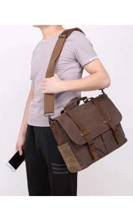 Мужская сумка - портфель из кожи и ткани Vintage 20116