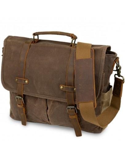 Фотография Мужская сумка - портфель из кожи и ткани Vintage 20116