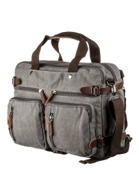 Большая серая тканевая сумка - трансформер Vintage 20151