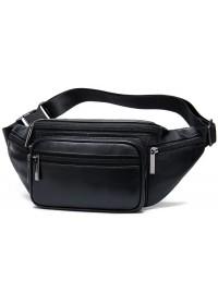 Черная кожаная сумка на пояс Vintage 20205