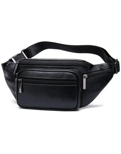 Фотография Черная кожаная сумка на пояс Vintage 20205
