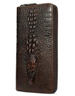 Коричневый мужской клатч с тиснением Vintage 20235