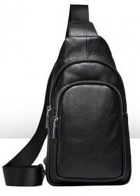 Черный рюкзак мужской на 1 шлейку Vintage 20242