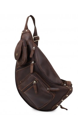 Винтажная кожаная мужская сумка - слинг Vintage 20373
