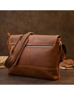 Мужская винтажная сумка на плечо рыжего цвета Vintage 20399