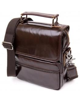 Кожаная коричневая мужская сумка барсетка Vintage 20412