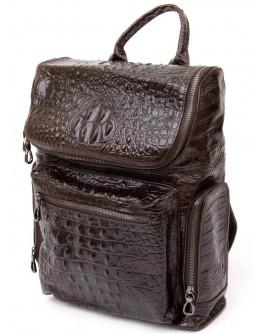 Кожаный коричневый рюкзак с тиснением под рептилию Vintage 20430