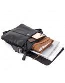 Фотография Кожаная черная мужская сумка почтальонка Vintage 20442