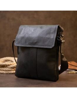 Кожаная черная мужская сумка почтальонка Vintage 20442