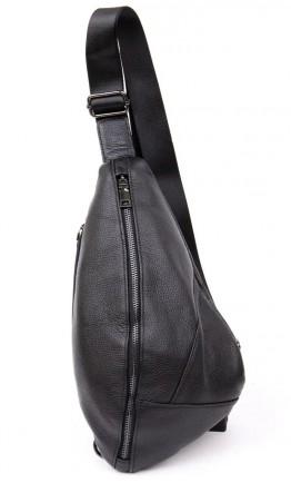 Черный кожаный мужской слинг Vintage 20444