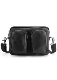 Черная кожаная горизонтальная мужская сумка Tiding 2357LH