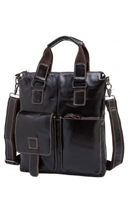 Коричневая удобная сумка мужская в руку и на плечо 259C