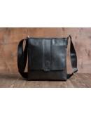 Фотография Черная сумка кожаная на плечо с клапаном 2837-1