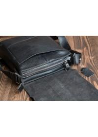 Черная сумка кожаная на плечо с клапаном 2837-1