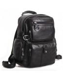 Фотография Компактный модный черный кожаный мужской рюкзак 73001