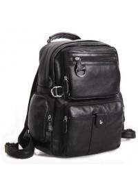 Компактный модный черный кожаный мужской рюкзак 73001