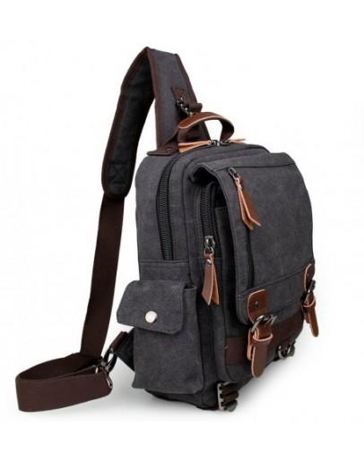 Фотография Черная мужская сумка, тканевый рюкзак 3010a