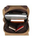 Фотография Коричневая мужская сумка, тканевый рюкзак 3010c