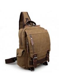 Коричневая мужская сумка, тканевый рюкзак 3010c