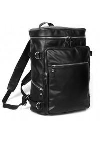 Вместительный кожаный черный прочный модный рюкзак 73035