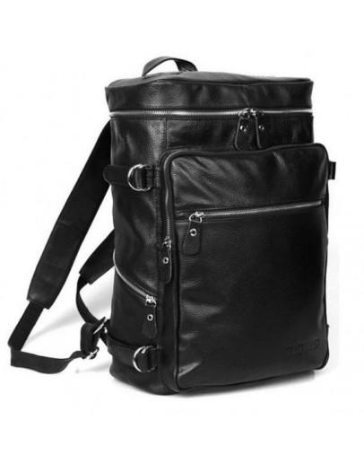 Фотография Вместительный кожаный черный прочный модный рюкзак 73035