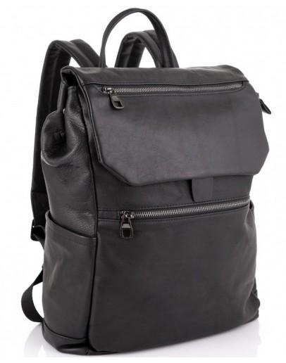 Фотография Кожаный мужской черный рюкзак Tiding Bag 303A