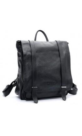 Стильный черный кожаный мужской модный рюкзак 73057