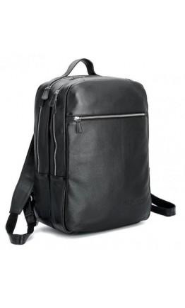 Крутой и стильный кожаный черный мужской рюкзак 73064