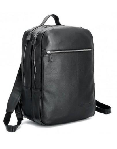 Фотография Крутой и стильный кожаный черный мужской рюкзак 73064