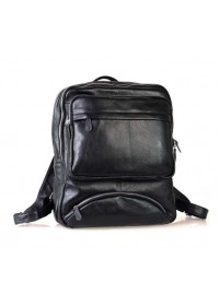 Чёрный небольшой кожаный мужской рюкзак 73102